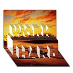 Stunning Sunset On The Beach 2 WORK HARD 3D Greeting Card (7x5)