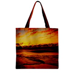 Stunning Sunset On The Beach 2 Zipper Grocery Tote Bags