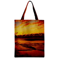 Stunning Sunset On The Beach 2 Zipper Classic Tote Bags
