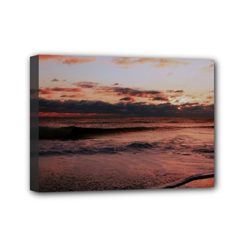 Stunning Sunset On The Beach 3 Mini Canvas 7  X 5
