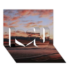 Stunning Sunset On The Beach 3 I Love You 3D Greeting Card (7x5)