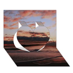 Stunning Sunset On The Beach 3 Heart 3D Greeting Card (7x5)