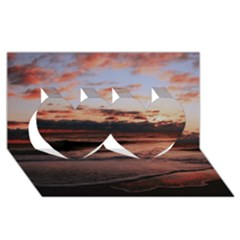 Stunning Sunset On The Beach 3 Twin Hearts 3D Greeting Card (8x4)