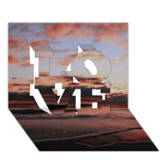 Stunning Sunset On The Beach 3 LOVE 3D Greeting Card (7x5)