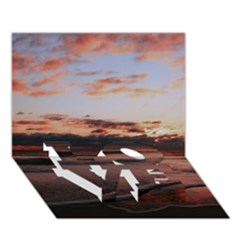 Stunning Sunset On The Beach 3 Love Bottom 3d Greeting Card (7x5)