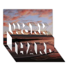 Stunning Sunset On The Beach 3 WORK HARD 3D Greeting Card (7x5)