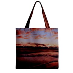 Stunning Sunset On The Beach 3 Zipper Grocery Tote Bags