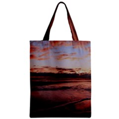 Stunning Sunset On The Beach 3 Zipper Classic Tote Bags