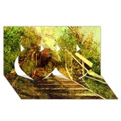 Up Stairs Twin Hearts 3d Greeting Card (8x4)