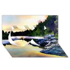 Stunning Nature Evening Twin Hearts 3D Greeting Card (8x4)