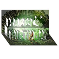 The Gate In The Magical World Happy Birthday 3d Greeting Card (8x4)