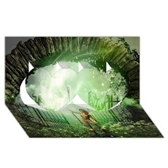 The Gate In The Magical World Twin Hearts 3d Greeting Card (8x4)