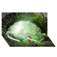 The Gate In The Magical World Twin Heart Bottom 3d Greeting Card (8x4)