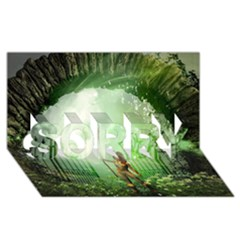 The Gate In The Magical World SORRY 3D Greeting Card (8x4)