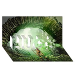 The Gate In The Magical World Hugs 3d Greeting Card (8x4)