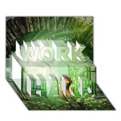 The Gate In The Magical World WORK HARD 3D Greeting Card (7x5)