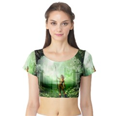 The Gate In The Magical World Short Sleeve Crop Top