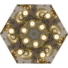 Steampunk, Golden Design With Clocks And Gears Mini Folding Umbrellas