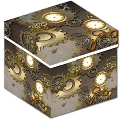 Steampunk, Golden Design With Clocks And Gears Storage Stool 12