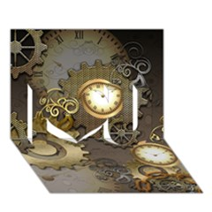 Steampunk, Golden Design With Clocks And Gears I Love You 3d Greeting Card (7x5)