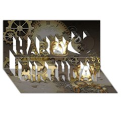 Steampunk, Golden Design With Clocks And Gears Happy Birthday 3d Greeting Card (8x4)