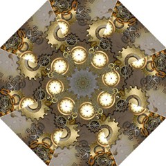 Steampunk, Golden Design With Clocks And Gears Hook Handle Umbrellas (Large)