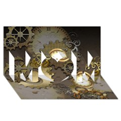 Steampunk, Golden Design With Clocks And Gears MOM 3D Greeting Card (8x4)