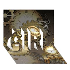 Steampunk, Golden Design With Clocks And Gears Girl 3d Greeting Card (7x5)