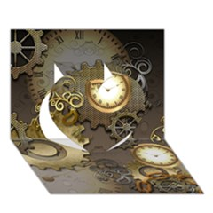 Steampunk, Golden Design With Clocks And Gears Heart 3D Greeting Card (7x5)