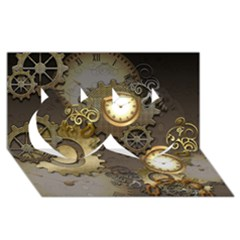 Steampunk, Golden Design With Clocks And Gears Twin Hearts 3D Greeting Card (8x4)