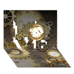 Steampunk, Golden Design With Clocks And Gears LOVE 3D Greeting Card (7x5)