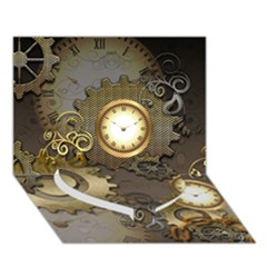 Steampunk, Golden Design With Clocks And Gears Heart Bottom 3d Greeting Card (7x5)