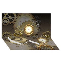 Steampunk, Golden Design With Clocks And Gears Twin Heart Bottom 3D Greeting Card (8x4)
