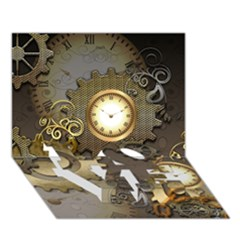 Steampunk, Golden Design With Clocks And Gears LOVE Bottom 3D Greeting Card (7x5)