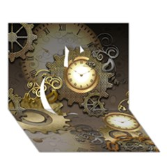 Steampunk, Golden Design With Clocks And Gears Apple 3D Greeting Card (7x5)