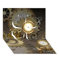 Steampunk, Golden Design With Clocks And Gears Clover 3D Greeting Card (7x5)