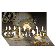 Steampunk, Golden Design With Clocks And Gears #1 Mom 3d Greeting Cards (8x4)