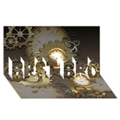 Steampunk, Golden Design With Clocks And Gears Best Bro 3d Greeting Card (8x4)