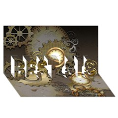 Steampunk, Golden Design With Clocks And Gears BEST SIS 3D Greeting Card (8x4)