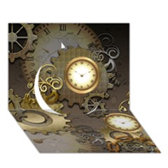 Steampunk, Golden Design With Clocks And Gears Circle 3d Greeting Card (7x5)