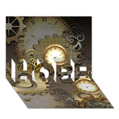 Steampunk, Golden Design With Clocks And Gears HOPE 3D Greeting Card (7x5)