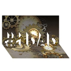 Steampunk, Golden Design With Clocks And Gears #1 DAD 3D Greeting Card (8x4)