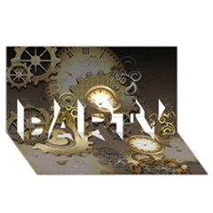 Steampunk, Golden Design With Clocks And Gears PARTY 3D Greeting Card (8x4)