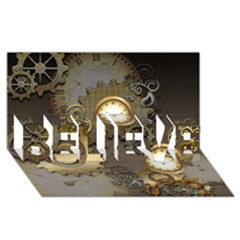 Steampunk, Golden Design With Clocks And Gears BELIEVE 3D Greeting Card (8x4)