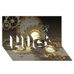 Steampunk, Golden Design With Clocks And Gears Hugs 3d Greeting Card (8x4)