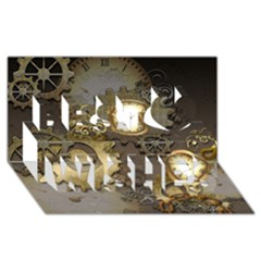 Steampunk, Golden Design With Clocks And Gears Best Wish 3D Greeting Card (8x4)