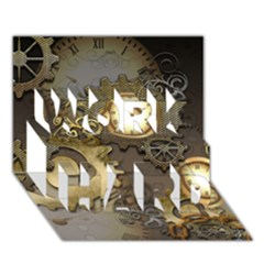Steampunk, Golden Design With Clocks And Gears WORK HARD 3D Greeting Card (7x5)