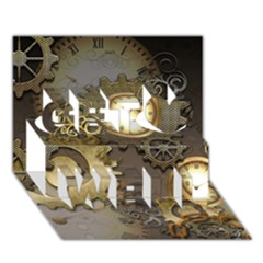 Steampunk, Golden Design With Clocks And Gears Get Well 3d Greeting Card (7x5)