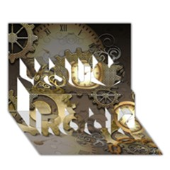 Steampunk, Golden Design With Clocks And Gears You Rock 3D Greeting Card (7x5)