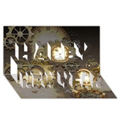 Steampunk, Golden Design With Clocks And Gears Happy New Year 3D Greeting Card (8x4)